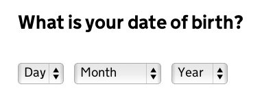Date of birth - all dropdowns