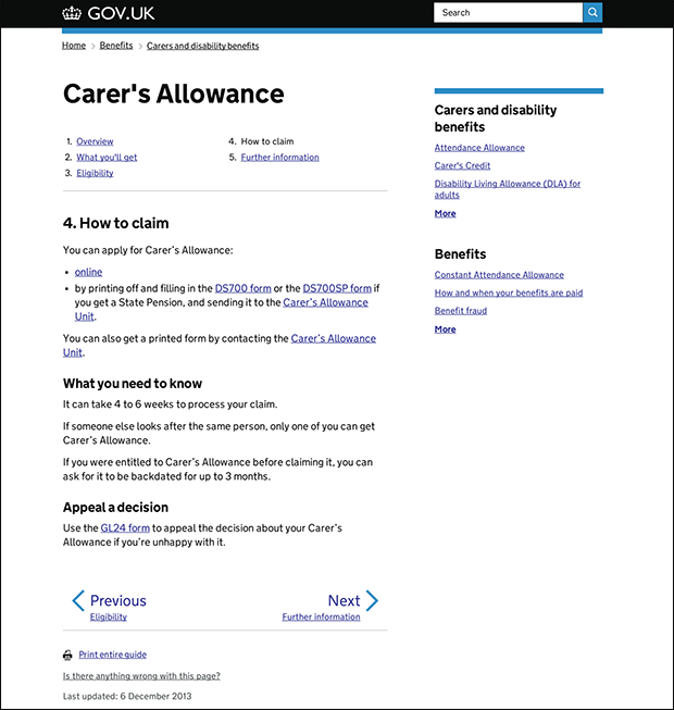 carer's allowance guide