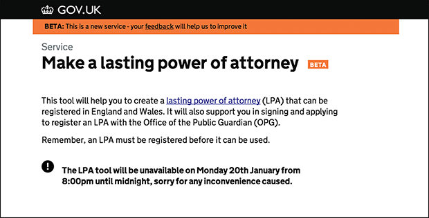 Lasting power of attorney beta