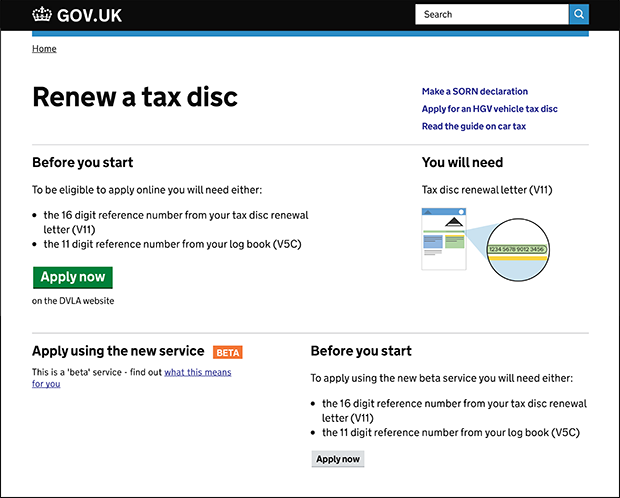 Renew a tax disc beta