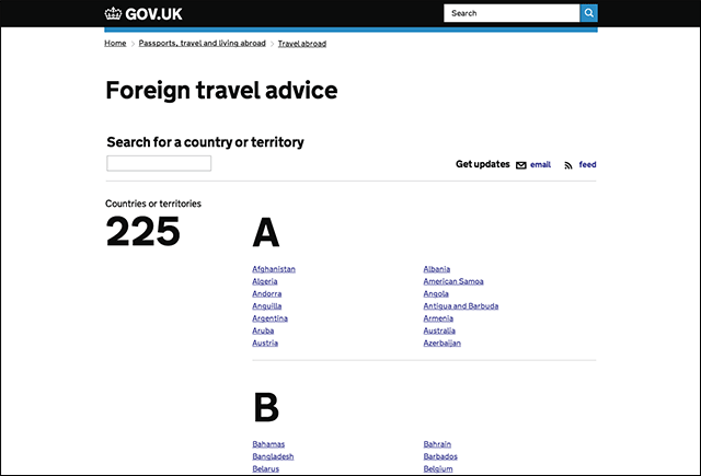 travel advice index new