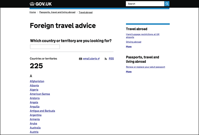 travel advice index old