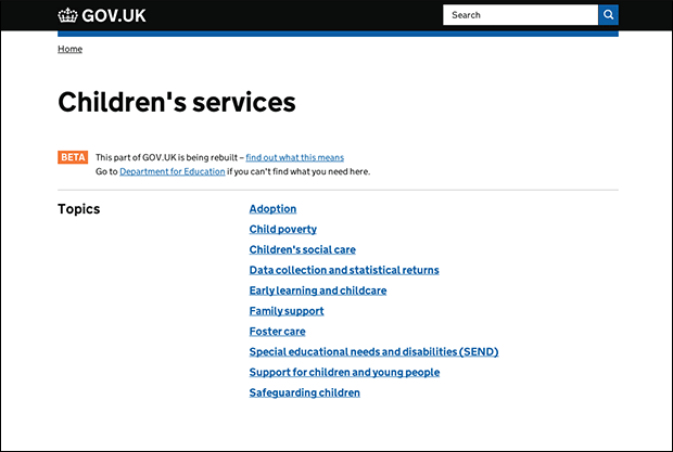 Children's services beta