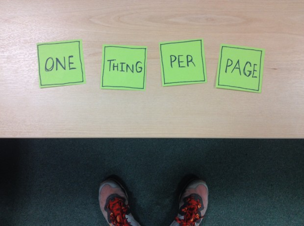 One thing per page