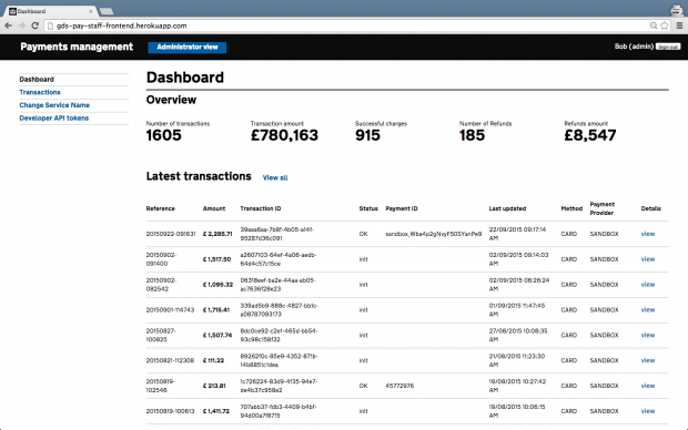 GOV.UK Pay admin interface