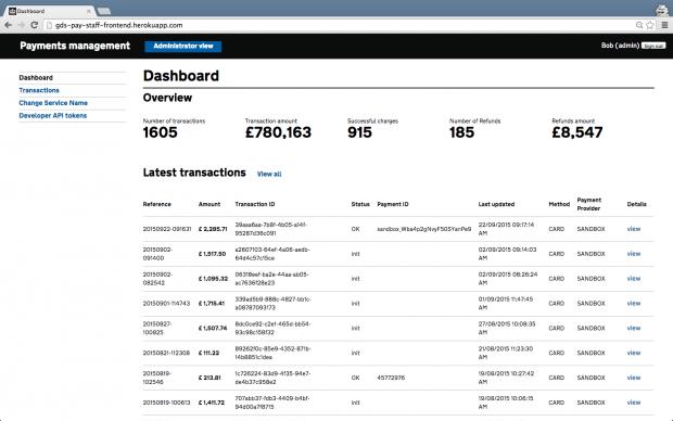 GOV.UK Pay admin interface