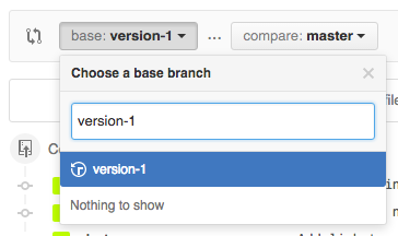 Screenshot of Github compare selector