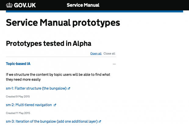 Screenshot of Service manual prototypes page