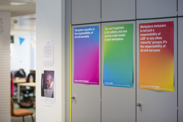3 Pride 2016 posters in the office featuring quotes from Civil Service Rainbow Alliance blog.