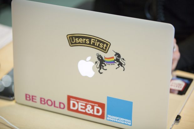 Pride 2016 sticker on laptop screen