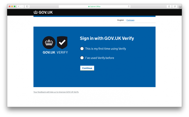 Verify sign in page