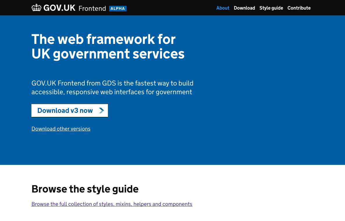 An early prototype of the GOV.UK Frontend site
