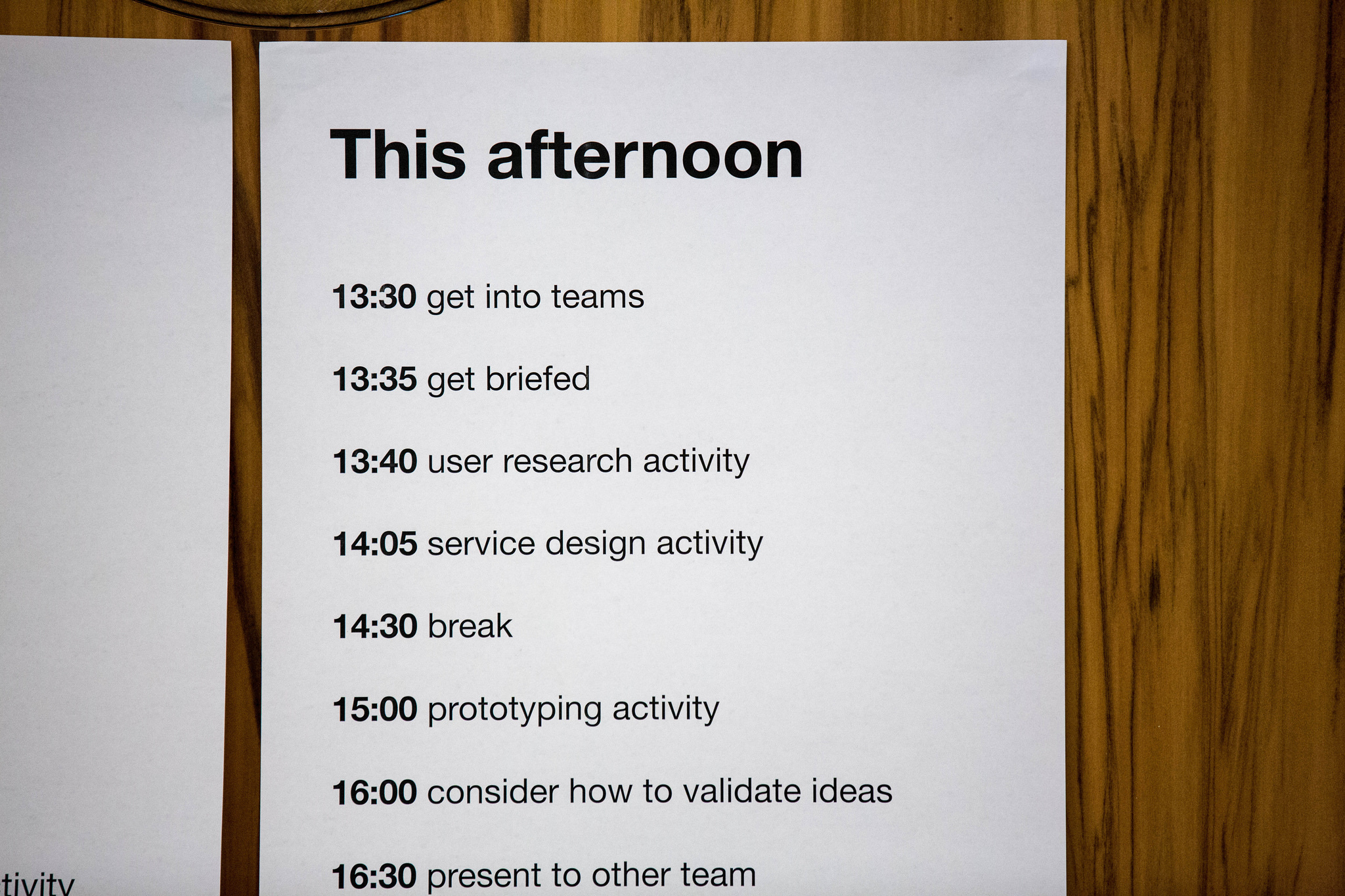 The agenda for the Student Design Day