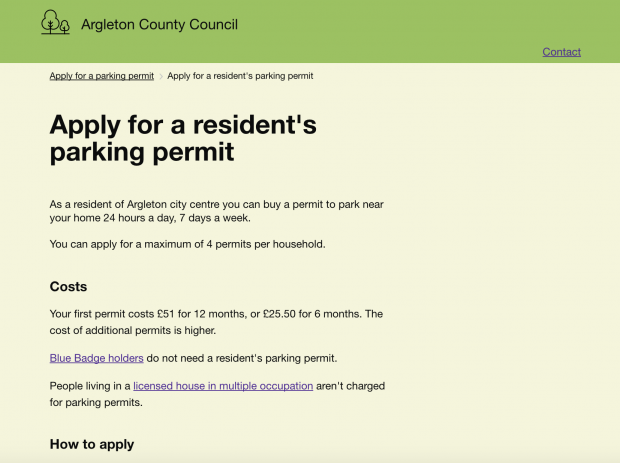 A fictional local council webpage for applying for parking permits
