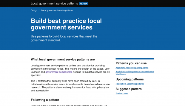 A picture of the webpage for local service patterns. The page outlines best practice for local government