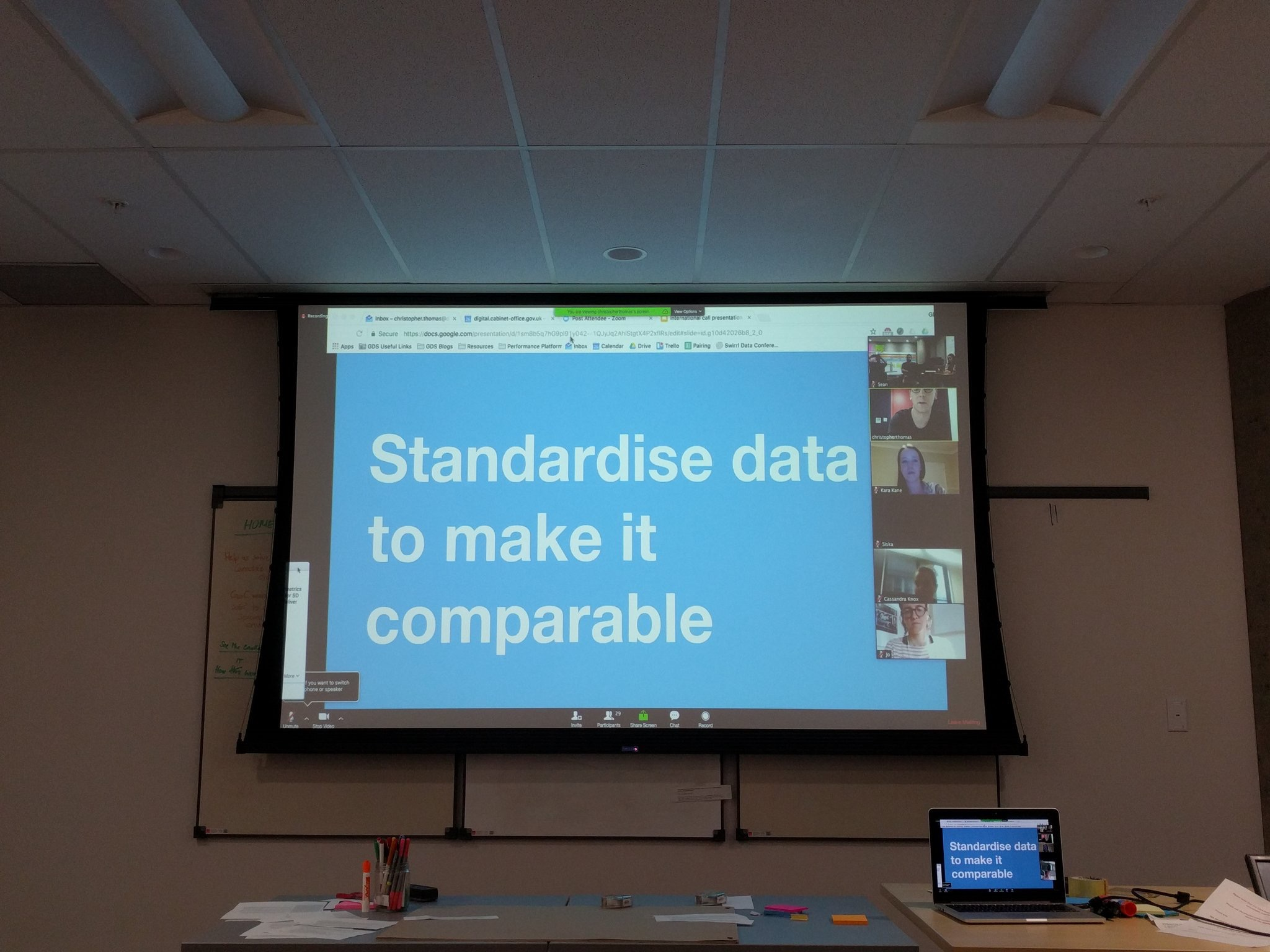A screen reading 'standardise data to make it comparable'