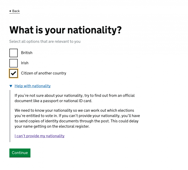 An example of the recreated 'Register to vote' service