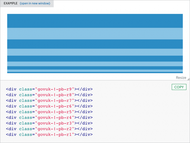 A visualisation of the spacing scale in the GOV.UK Design System using govuk-!-pb, which stands for padding-bottom