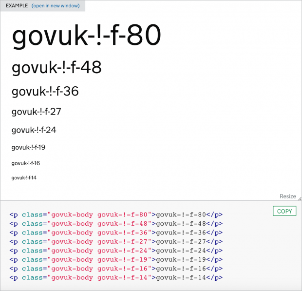An example of font override classes in use in the GOV.UK Design System