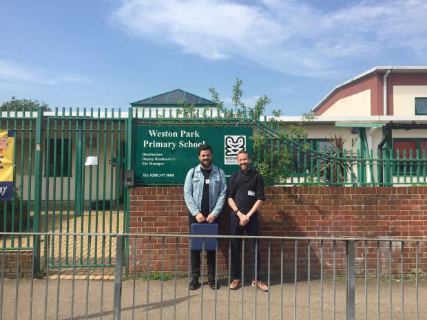 Stephen and Ed outside Weston Park Primary School