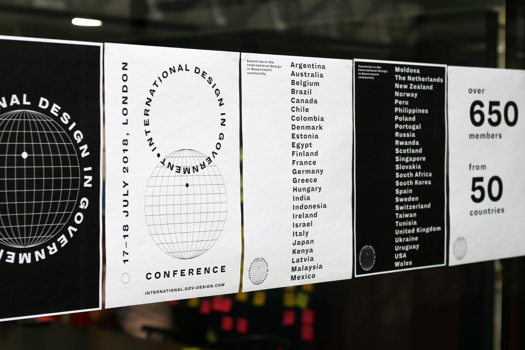 A series of posters for the International Design in Government Conference, listing the 50 countries that are members of the International Design in Government community