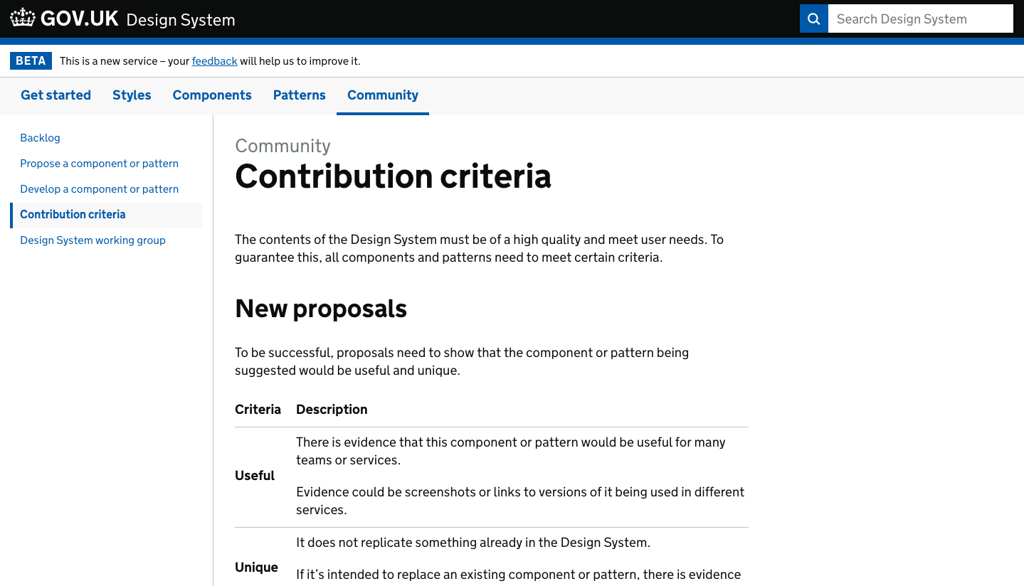 A screenshot of the contribution criteria page on the Design System