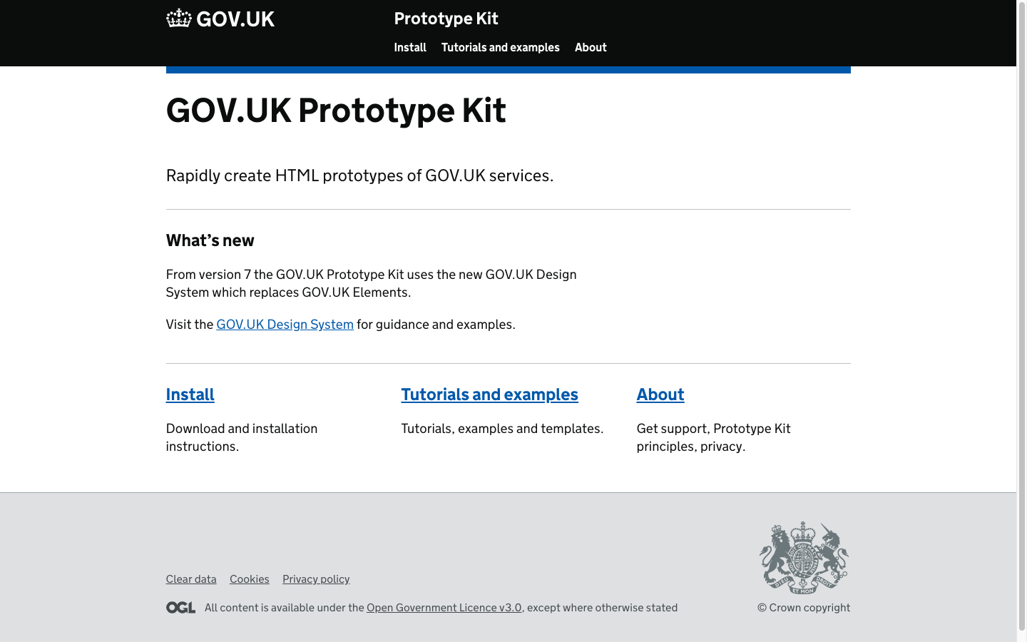 A screenshot showing the prototype kit front page