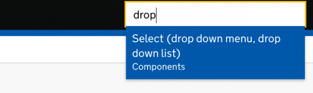 A drop-down menu where a user has started to type 'drop' and the autosuggest is suggesting 'drop down menu' and 'drop down list'