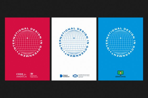 "Three posters promoting each location of the International Design in Government Conference. They are almost identical, featuring the conference logo which is a sphere with the words 'International Design in Government"" around the circumference, but the backgrounds are different colours - red, white and blue - and feature the logo or name of the organisation running the event"
