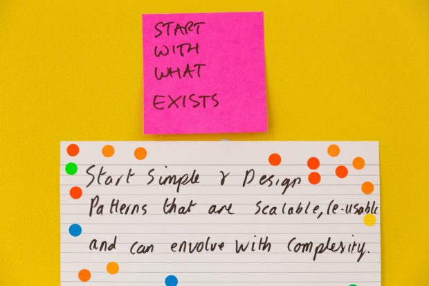 A Post-it on a wall reading 'start with what exists'