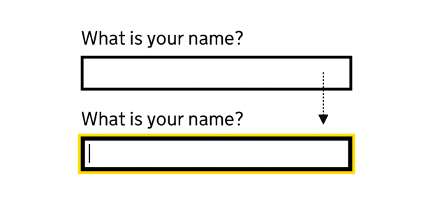 An image showing input focus style after the changes: a text box with a thick black and thin yellow border