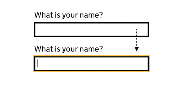 An image showing input focus style before the changes: a text box with a thin black and thin yellow border