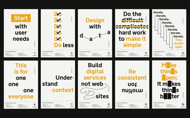 10 typographic posters of the 10 Government Design Principles