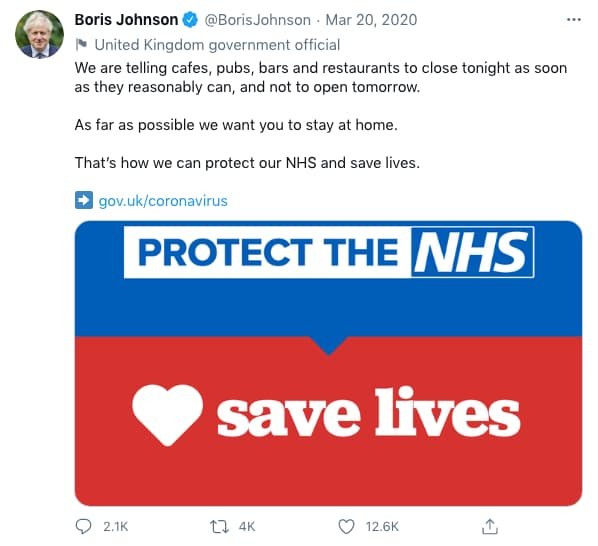 Tweet by BorisJohnson (tweet content below)