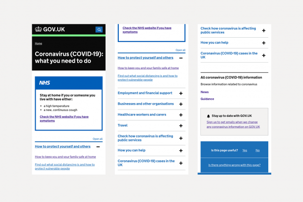 Screenshots of a previous version of the GOV.UK Coronavirus page with its many sections and topics listed