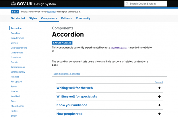 Screenshot of the accordion pattern documented on the GOV.UK Design System