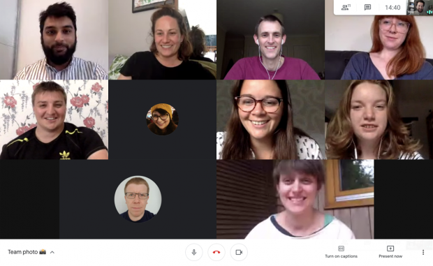 Screenshot of a video call showing eleven members of the team that built the Coronavirus landing page