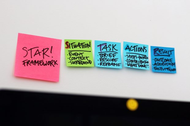 Photograph of 5 sticky notes on a wall saying: STAR framework – situation, task, actions, result