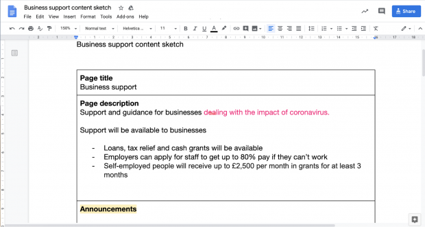 Screenshot of the Business support content sketch