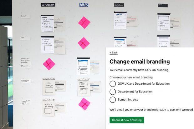 Montage of research office wall and final interface design for changing settings in GOV.UK Notify