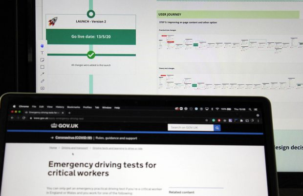 Two screen behind each other: One showing the user journey of the emergency driving test for critical workers and the other one the start page of the service on GOV.UK