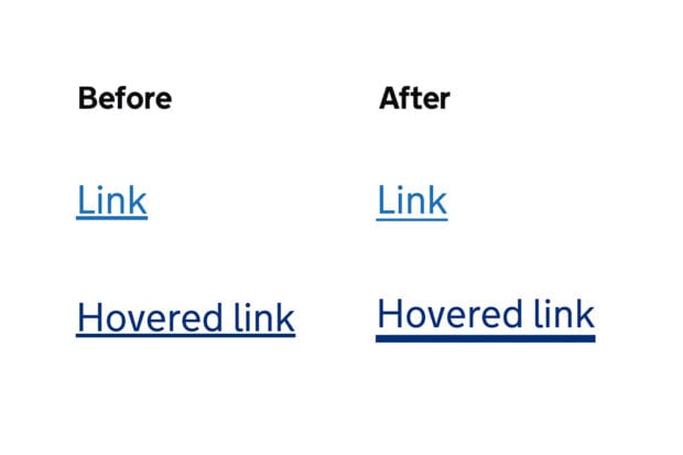 Two columns of text showing the difference in link styles