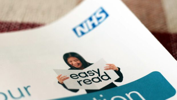A close-up of an NHS brochure saying 'easy read' on its cover